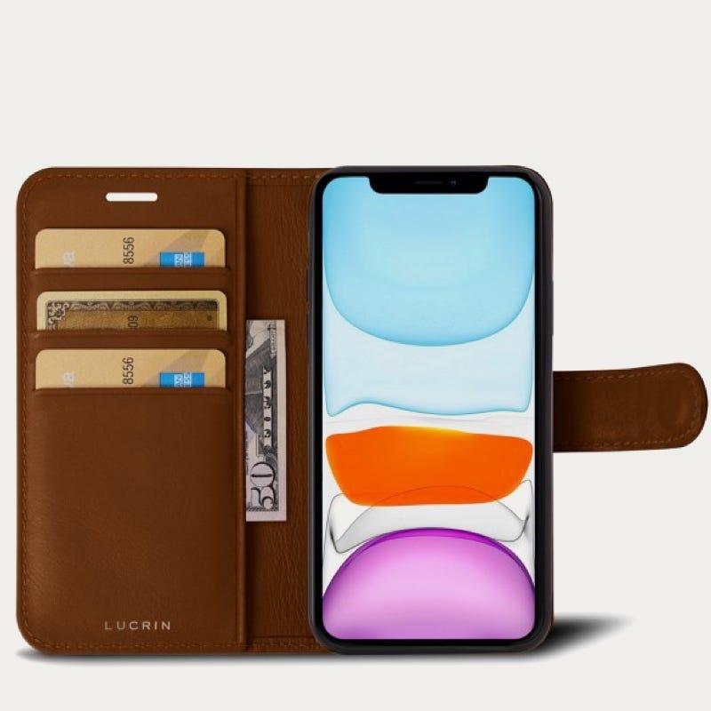 Funda cartera para iPhone 11 Pro Max - Coñac  - Piel Liso