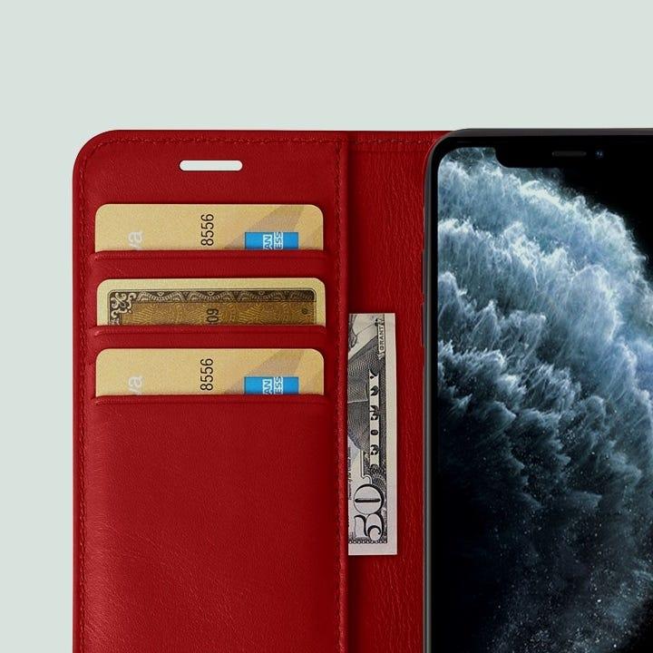 Funda cartera para iPhone 11 Pro Max - Rojo - Piel Liso