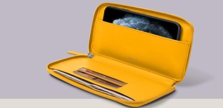 Cartera con cremallera para iPhone 11 - Amarillo sol - Piel Liso
