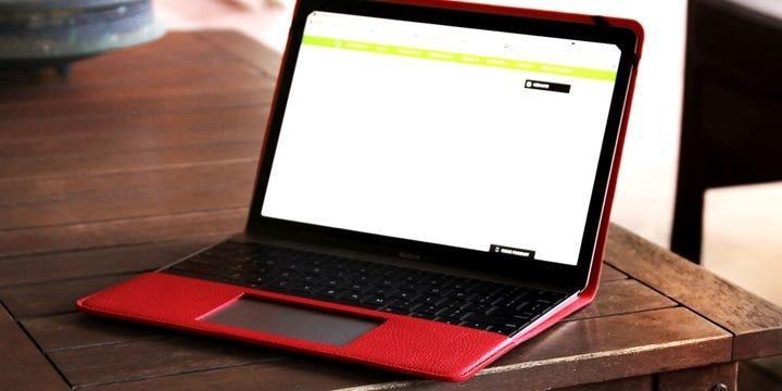cubierta para MacBook - Rojo - Piel Grano
